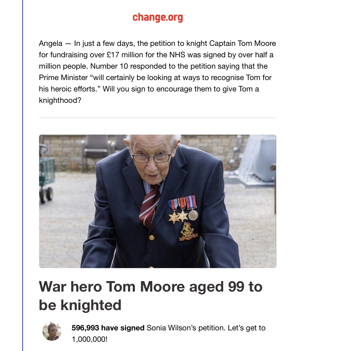 Get Captain Tom Moore Knighted